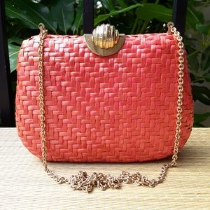 Rodo Small Coral Wicker Purse or Clutch Bag